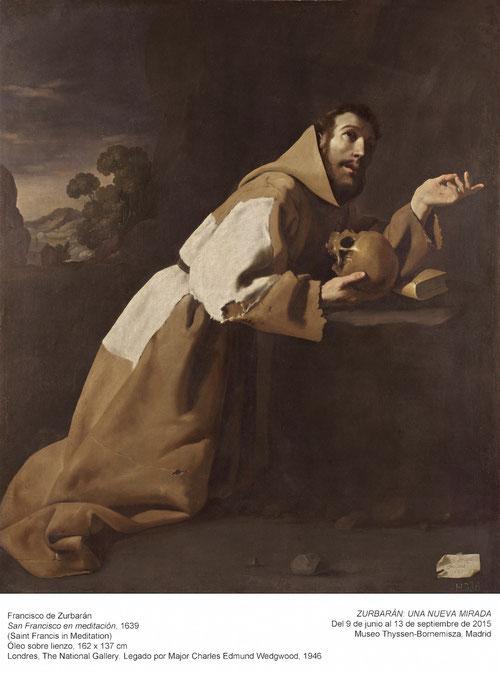"""San Francisco en meditación,1639.National Galery.El""""poverello de Asís""""uno de los santos favoritos de la reforma católica,arrodillado en oración,en el milagro de la Porciuncula.El protagonista absoluto es el hábito franciscano,su mirada dirigida al cielo.."""