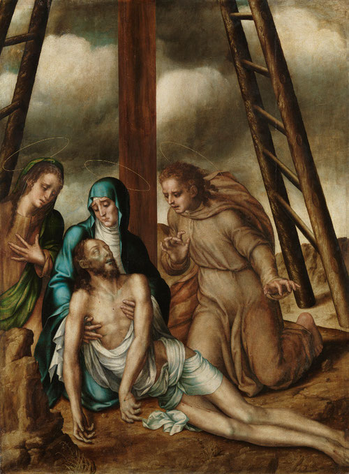 Lamentaciones sobre Cristo muerto,1566.Óleo sobre tabla de roble.Museo de Salamanca,Ministerio de Educación.Forma parte de los nueve tableros que conformaban el conjunto por el que se pagó 700 ducados de oro, de gran formato.