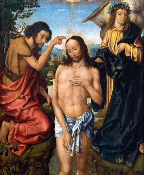 """Detalle del Bautismo de Cristo. Maestro de Fráncfort.Juan, conocido por el Bautista, hijo de Zacarias e Isabel, tiene por misión anunciar la venida del Mesias""""He aquí el cordero de Dios que quita el pecado del mundo"""".Bautiza a Jesus en el Jordan."""