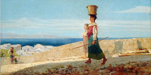 Telemaco Signorini.Aguadoras en la Spezia.1861.Óleo sobre lienzo.60x118cm.Enrico Gallerie de Arte.