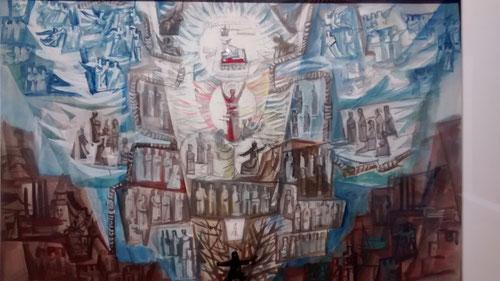 Boceto para el ábside la Basílica de Aranzazu 1954. Es de Carlos Pascual de Lara.. Gouache y lápiz sobre cartón.34x54cm. Instituto valenciano de Arte Moderno.