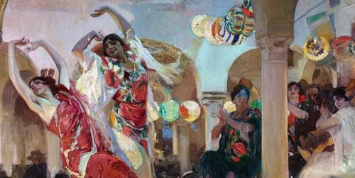 Baile en el café Novedades de Sevilla. Detalle.1914.Cuadro de gran tamaño encargado por su mecenas Ryan dedicado a Sevilla.