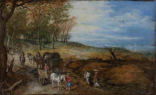 Jan Brueguel el Viejo.Viajeros con carros en un camino rural.1610.Óleo sobre cobre.12x20cm.Colección privada.