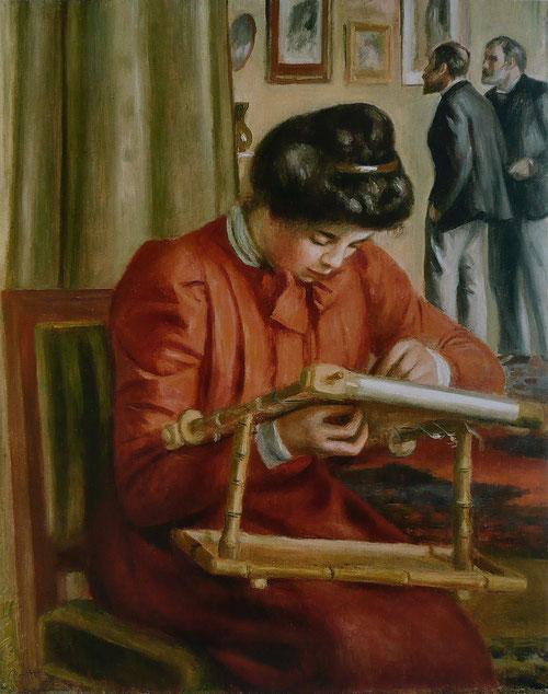 En esta costurera, Renoir tiene algo de camaleónico, quien quiera compararlo con Veermer, el pintor de la luz no se equivocará. Christine Lerolle bordando 1895.Columbus Ohio,Columbus Museum of Art.