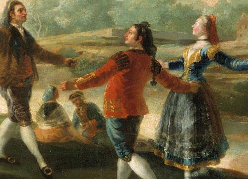 Detalle del Baile a orillas del Manzanares.Francisco de Goya.1776.Tapiz destinado al comedor de los Príncipes,versión moderna del afán del hombre por alcanzar los placeres terrenales y sensuales.