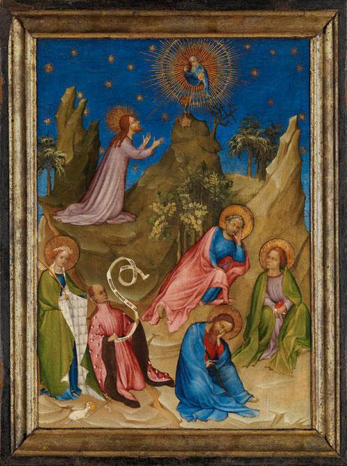Anónimo frances.La oración en el huerto con el donante Luis I de Orleans.Hacia 1405. Temple sobre tabla,56x42cm.Perteneciente a un tríptico.