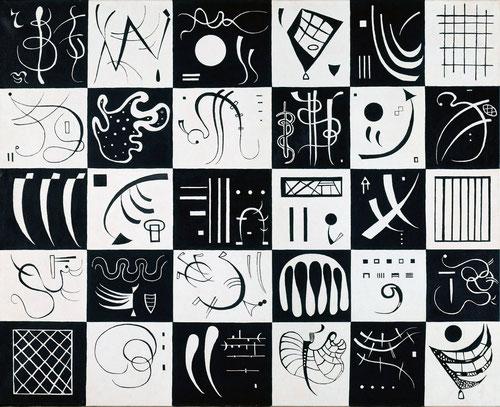 Treinta,1937,óleo sobre lienzo.81x100cm.Sigue perfeccionando invenciones orgánicasy seres vivos (embriones,camarones,plancton) extraido de revistas científicas en blanco y negro.