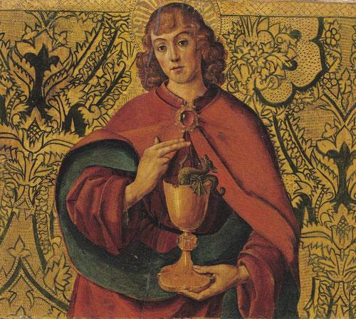 Tablas cortadas y desmembradas,formaban parte de un grupo  de Sta Mª del Campo, atribuidas a Juan de Nalda.Los atributos en primer plano de San Juan Evangelista lo identifican sobre fondo dorado de rico brocado.Fechado 1500.