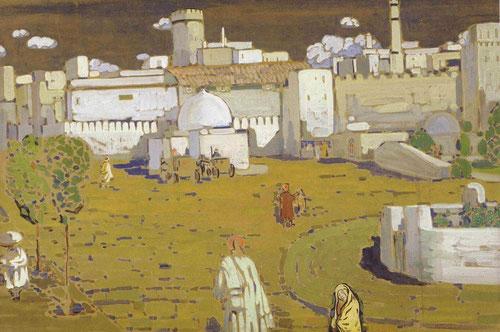 Wassily Kandinsky, Ciudad árabe, 1905. Tempera sobre cartón.67x99cm, Centre Pompidou, Paris. Perfecta síntesis entre la arquitectura islámica y liberación del color y la forma.