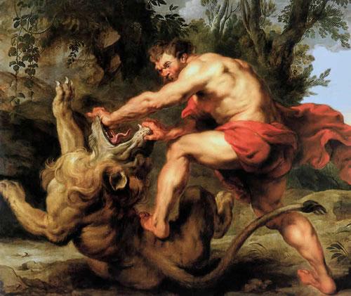 Sansón y el león. Pedro Pablo Rubens,1616.En su segundo viaje a España trajo 8 pinturas para el rey Felipe IV que pasó a decorar el Palacio Real, muy adecuado para el poder real. Hoy pertenece a Villar Mir.