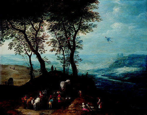 Joseph van Bredael.Campesinos de regreso del mercado.1700-1710.Óleo sobre cobre.27x35cm.Colección privada.