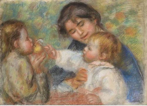 Renoir fue uno de los 7 hijos de un sastre de Limoges.Pintaba para vivir.El modelado intenso, pincelada intermitente y colorido de esta delicia de maternidad, resultaba un tanto estrafalaria para un público de la época.