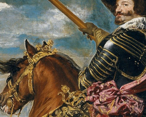 Velázquez.D.Gaspar de Guzman conde-duque de Olivares,1634.Detalle.Dotado de todos los atributos de mando, aparece arrogante con el caballo en corbeta,expresión máxima de mando militar.Situa el caballo oblícuo al lienzo,mientras el jinete vueleve la cabeza