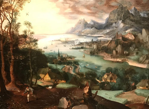 Pieter Brueghel El Viejo y Jacob Grimmer.Paisaje con la parábola del sembrador.1557.Óleo sobre tabla.Colección privada.
