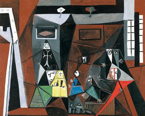 Las Meninas,Cannes octubre 1957.Óleo sobre lienzo.129x161cm.Museo Picasso, Barcelona,España. Picaso interpreta la obra velazqueña asumiendo variaciones cubistas sobre el tema.