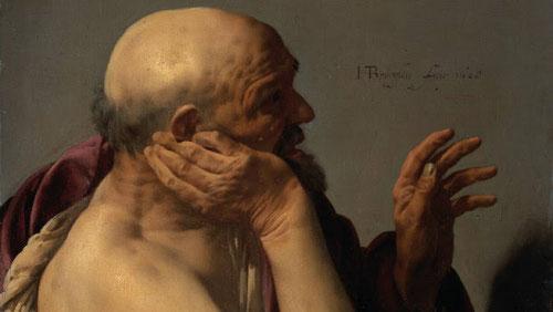 Hendrick ter Brugghen.Heráclito 1628.Amsterdam Rijksmuseum. Su afán por humanizar todo lo que pintaban ya sean filósofos, dioses o nobles con ropa humilde y espacio cotidiano
