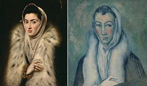 Izquierda:Dama del armiño del Greco?,1577,óleo sobre lienzo 60x50cm Glasgow.Derecha Paul CÉZANNE,Dama del armiño,Óleo sobre lienzo,Londres,col.particular.
