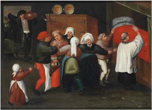 Marten Van Cleve.Boda campesina. La bendición del lecho nupcial.33x68cm.Colección privada.
