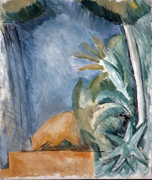 Paisaje de L`  Estaque 1908.Museo Cantini de Marsella. Las enseñanzas de Cézanne son patentes buscando nuevas soluciones y simplificando motivos, el cielo desaparece y reduce gama cromática.Azules y verdes escalonan el lienzo con pequeños cubos-triángulos