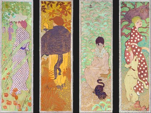 Biombo mujeres en el jardín. Su pasión por el arte japonés y formatos verticales, con una compleja red de líneas arabescas, le alejaron de corrientes vanguardistas, fue enemigo de las teorias estéticas dominantes.