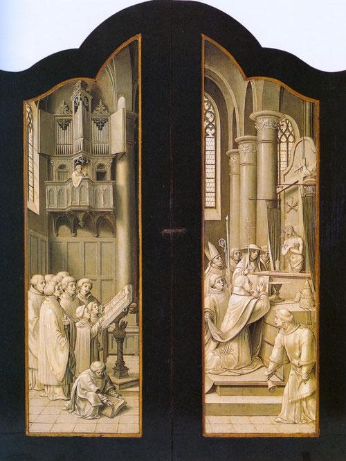 El tríptico conserva los marcos originales con inscripciones latinas, pero un aspecto interesante son las grisallas al cerra puertas laterales con una única escena, la misa de san Gregorio mas un coro.Alguien mira desde el órgano.