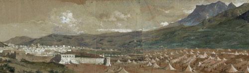 Vista de Tétuan,1860.Acuarela y guache sobre papel.395x1375mm. Presenta estos apuntes de encuadres de murallas panorámicos captados a gran distancia y desde lugares elevados.Tiendas militares pertenecientes al ejército español de Voluntarios Catalanes.