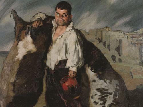 El enano Gregorio el Botero 1907.Óleo sobre lienzo 187x154cm.Museo del Hermitage,San Petersburgo.Una de sus obras más célebres, que existen dos versiones. Frente a las murallas de ävila con camisa y alpargatas,enmarca la tradición de la España Negra.