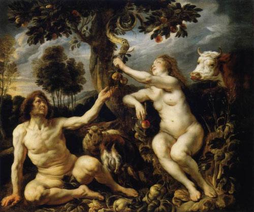 Jacob Jordaens,Adan y Eva 1630-40.Episodio del Antiguo Testamento que relata el pecado original representa sin tapujos los desnudos del hombre y la mujer,entorno idílico sentados entorno al árbol de la ciencia, Eva sentada pues no fue la única responsable