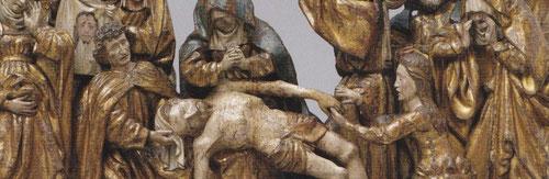Talla en madera policromada y pan de oro,70x110cmx25cm.La Lamentación 1540,una iconografía de gran auge a partir del SXIV.Nueve figuras con expresión de patetismo.Gran calidad de policromía y dorados.