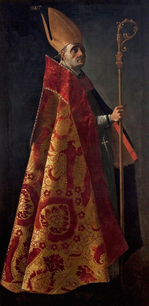San Ambrosio,1626.Óleo sobre lienzo.207x101cm.Museo Bellas Artes de Sevilla.Los postulados de la Reforma católica incluyen los 4 doctores de la Iglesia y 14 episodios de Sto Domingo.Silueta monumental, impresionante,iluminación caravaggiesca.Capa pluvial!