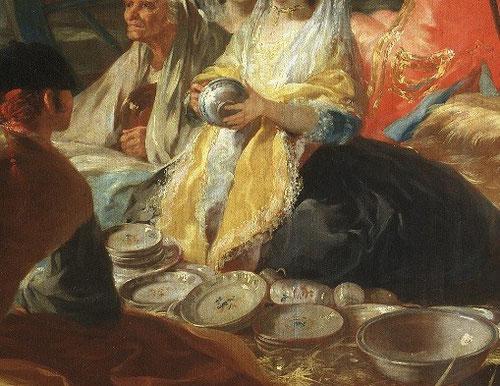 Detalle del cacharrero,1779.Goya.Cartón destinado a los tapices del comedor de príncipes, junto a la bollera de la fuente, vendedores ambulantes, una realidad contemporánea que fomenta la identidad española y la importancia de la loza y porcelana.