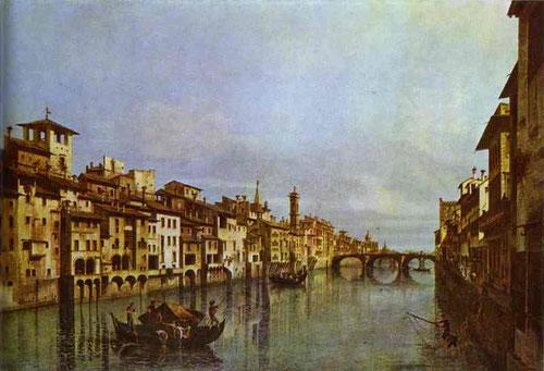 """Bernardo Bellotto.El Arno en Florencia 1740. Cuando el artista tenía 17 años invitado a Florencia por el Marques de Gerini para el que hizo varias """"vedutas"""", sobrino de Canlletto demuestra una técnica depurada y juego magistral de luces y sombras."""