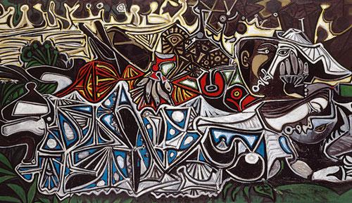 Muchachas a la orilla del Sena, según Courbet.Picasso,1950.Óleo sobre contrachapado.Expuesto en el Prado.Courbet,pintor del SXIX,de sensualidad directa y atrevida, influyó sobre la obra de Picasso.Eligió un soporte contrachapado similar a la obra de Cuber