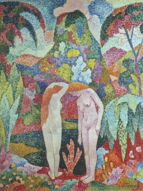 J. Metzinger, Bañistas en paisaje exótico. Óleo sobre lienzo.116x88cm.Colección Carmen Thyssen. Prueba evidente de  la relación de Gauguin con los fauves y el significado simbólico de formas y colores.