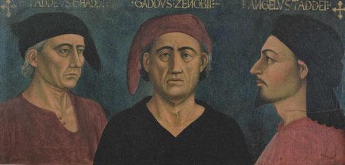 Este cuadro representa a tres artistas de la familia Gaddi, en el centro la cabeza de la dinastia Gaddo di Zanobi.La representación de tres cabezas, de frente, de perfil y tres cuartos era una idea brillante.El encargo es posible que lo hiciera un sobrino