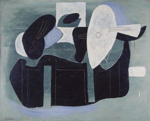 Instrumentos de música sobre una mesa 1924. Centro de Arte Reina Sofía.162x204cm. Si Einstein fuerza el lenguaje en pos de la intuición, el extraño lenguaje de Picasso procede de un más allá formal