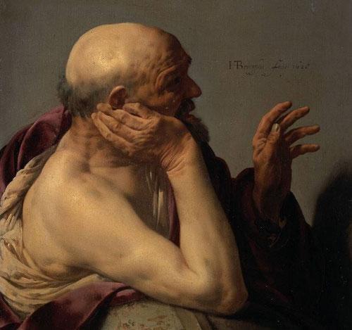 Hendrick ter Brugghen.Heráclito 1628.Amsterdam Rijksmuseum. Su afán por humanizar todo lo que pintaban ya sean filósofos, dioses o nobles con ropa humilde y espacio cotidiano.