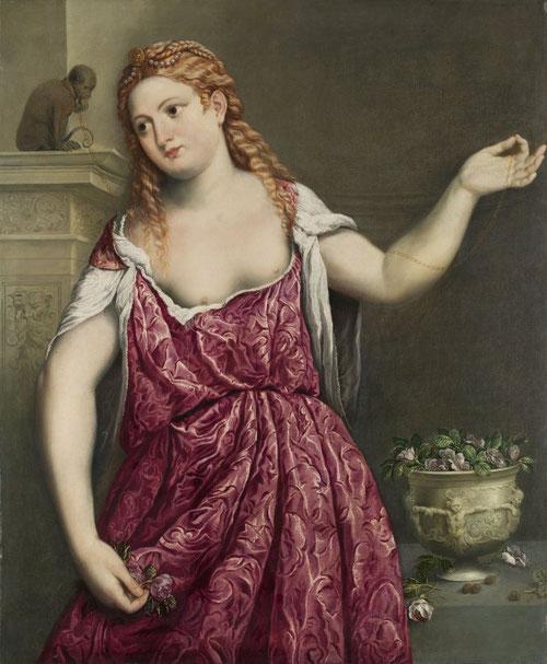 Paris Bordone.Retrato de una joven.1543.Óleo sobre lienzo.103x83cm.Madrid.Museo Thyssen. Cada vez la alegoria moralizante sobre el amor, las rosas simbólicas consagradas a Venus, aparecen con el mono símbolo de la concupiscencia y el pecado.