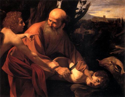 El sacrificio de Isaac,1603.Óleo sobre lienzo.104x135cm.Galeria Uffizi,Florencia.Abraham sostiene el cuchillo en la garganta de su hijo,perfección virtuosa en los detalles de la cabeza del carnero.Iconográficamente muestra un cambio pues el joven  resiste