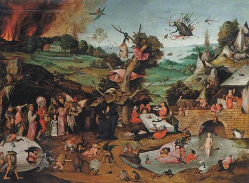 Plasmado con desbordante imaginación y creatividad, Hieronimus van Aeken Bosch,el Bosco y su particular universo figurativo, con imágenes desconcertantes, deriva en un trasfondo moral no exento de jocosidad.Las tentaciones de S.Antonio Abad.