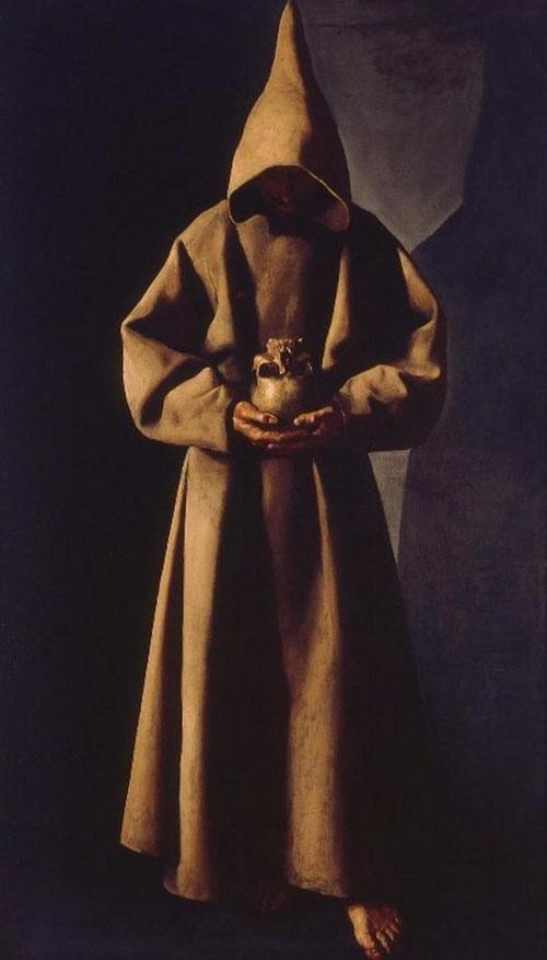 San Francisco de pie contemplando una calavera,1633-35.Óleo sobre lienzo 91x30cm.Saint Louis Art Museum..A pesar de su pequeño tamaño,los pliegues del sayal,su gama de colores pardos,el gesto cabizbajo del santo..es una de las más impresionantes obras.