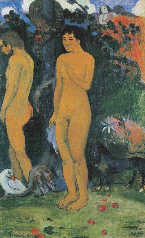 P Gauguin. Adan y Eva,1902.Óleo sobre lienzo,59x38cm.Ordrupgaard,Copenhague. Gauguin es uno de los pocos artistas políticamente comprometidos a quien fascinan las tradiciones religiosas, le han inculcado desde niño las enseñanzas de la iglesia católica.