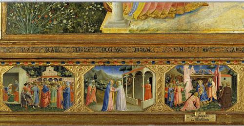 Detalle de la predela o banco, siguiendo el esquema del gótico internacional y Quatrocento italiano, ayudaban a mostrar a María como predestinada por Dios:Matrimonio de Mª y José, la Visitación y nacimiento del Hijo de Dios.
