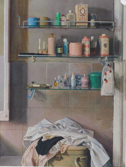 Isabel Quintanilla.Cuarto de baño 1968.Óleo sobre tabla 100x75cm.Colección Javier Elorza.