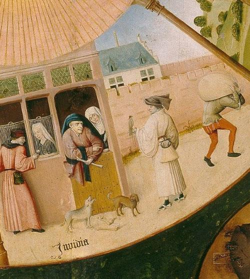 Detalle de LA ENVIDIA, representada por una pareja de enamorados donde un burgués la intenta seducir; un mercader mira a otro joven con un halcón en el puño; dos perros con el mismo hueso.Tres escenas con un denominador:LA ENVIDIA