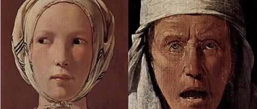Detalle de caras de mendigos abrumados de hambre y pobreza, con la juventud y lozanía de la joven de La Buenaventura que desvalija sin escrúpulos,convertida en parábola moral o escena de género. Pertenece a una de sus obras más admiradas del XVII.