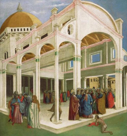 """Francesco DÁntonio.""""La curación del niño endemoniado y la traición de Judas"""" 1425.Temple y oro sobre lienzo.Philadelphia Museum of Art.Sorprende cómo enlaza el autor dos pasajes bíblicos sin aparente relación, hecho que no pasó desapercibido a Vasari."""