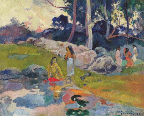 Paul Gauguin, Mujeres en la ribera del río, 1892 . Óleo sobre lienzo.31x40cm. Colección privada.