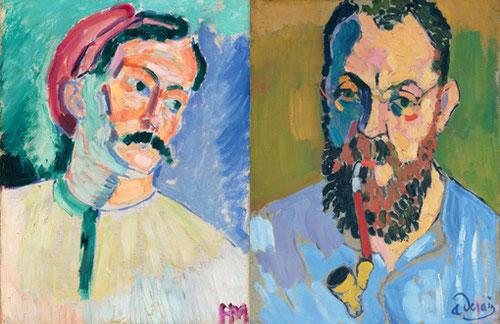 A la izquierda H. Matisse pintado por Derain 1905. A la derecha Derain pintado por Matise en 1905. Reflejan ambos el respeto que le inspiraba su colega.La mirada de Matisse, fija y penetrante transmite seguridad y estabilidad de maestro.