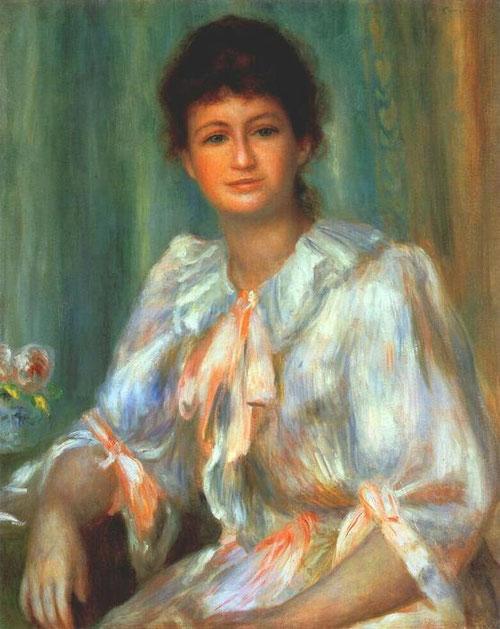 Retrato de la Sra Paulin 1885-1890.Óleo sobre lienzo 81x58cm.Jerusalen.The Israel Museum. La mirada abre un abismo entre la paleta de colores nacarados, Renoir cultiva la identificación con sus criaturtas,no pintaba sus modelos vistos desde el exterior.